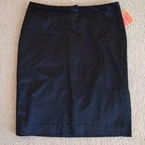 NWT Black Satin Pencil Skirt Isaac Mizrahi